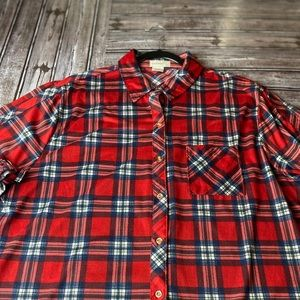 Passport plus women's plaid button down shirt